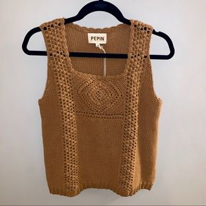 Pepin for Anthropologie Crochet Knit Tank